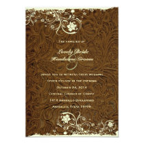 Cowboy Tooled Leather Style Wedding Invitation