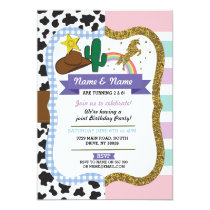 Cowboy & Unicorn Boys Girls Birthday Invites