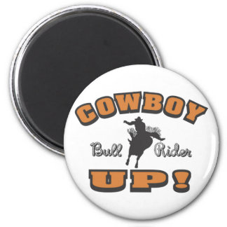 Cowboy Up Bull Rider 2 Inch Round Magnet