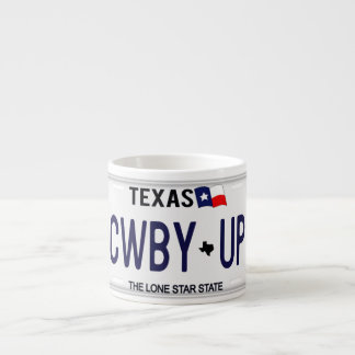 Cowboy Up!  CWBY UP Texas License Plate Espresso Cup