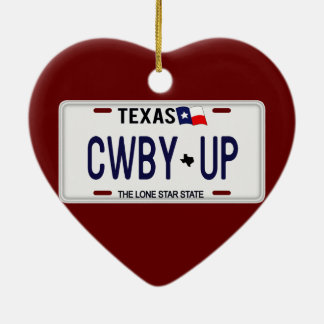 Cowboy Up!  CWBY UP Texas License Plate Ornament