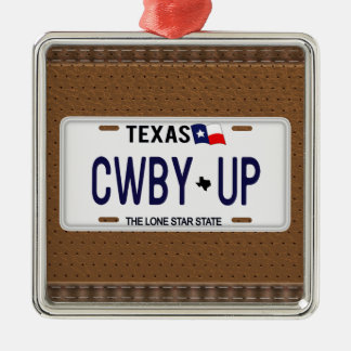 Cowboy Up!  CWBY UP Texas License Plate Ornaments