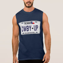 Cowboy Up!  CWBY UP Texas License Plate Sleeveless Shirt