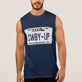 Cowboy Up!  CWBY UP Texas License Plate Sleeveless Shirt