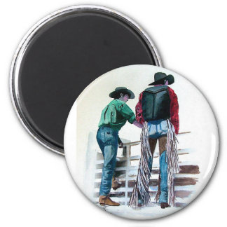Cowboy Up 2 Inch Round Magnet