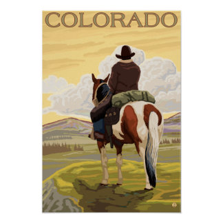 Cowboy (View from Back)Colorado Poster
