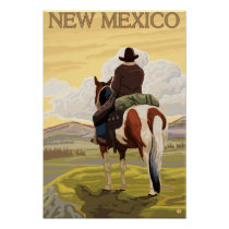 Cowboy (View from Back)New Mexico Poster