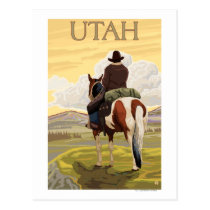 Cowboy (View from Back)Utah Postcard