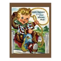 Cowboy Vintage Birthday Postcard