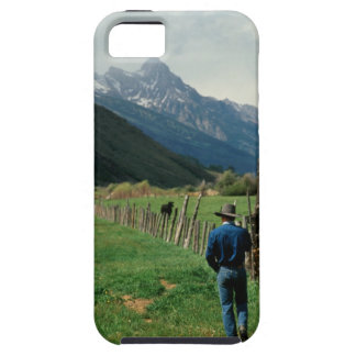 Cowboy walking along fenced pasture Teton Range iPhone SE/5/5s Case
