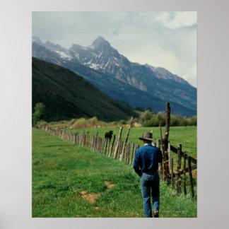 Cowboy walking along fenced pasture Teton Range Poster