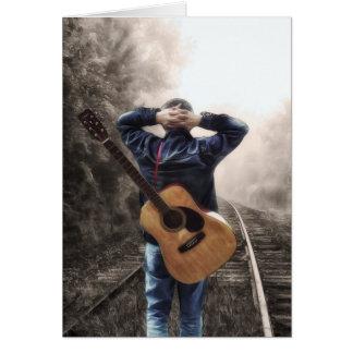 Cowboy Walking on the Railroad Tracks by ShawnaMac Card