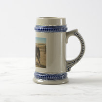 Cowboy walking with Quarter Horse in Colorado Beer Stein