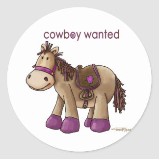 Cowboy Wanted Classic Round Sticker