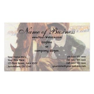 Cowboy Watering His Horse by NC Wyeth Double-Sided Standard Business Cards (Pack Of 100)