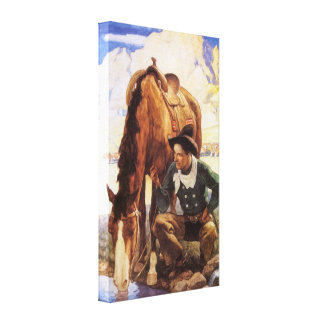 Cowboy Watering His Horse by NC Wyeth Vintage Art Canvas Prints