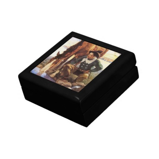 Cowboy Watering His Horse by NC Wyeth, Vintage Art Jewelry Boxes