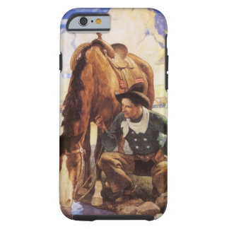 Cowboy Watering His Horse by NC Wyeth, Vintage Art iPhone 6 Case