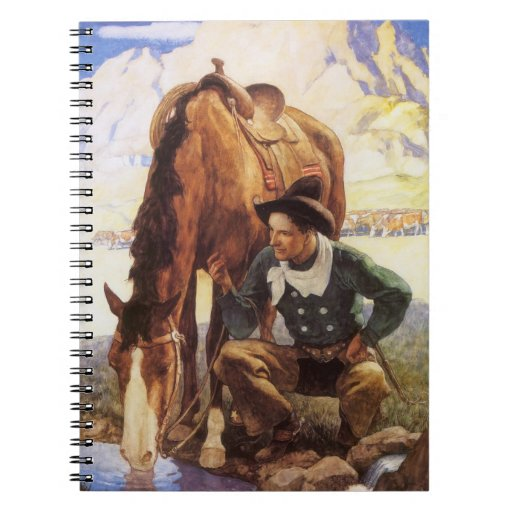 Cowboy Watering His Horse by NC Wyeth, Vintage Art Spiral Notebooks