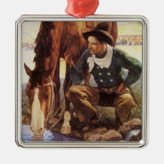 Cowboy Watering His Horse by NC Wyeth, Vintage Art Ornament