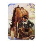 Cowboy Watering His Horse by NC Wyeth, Vintage Art Vinyl Magnets