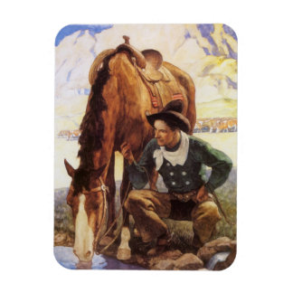 Cowboy Watering His Horse by NC Wyeth, Vintage Art Rectangular Photo Magnet