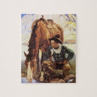 Cowboy Watering His Horse by NC Wyeth, Vintage Art Jigsaw Puzzles
