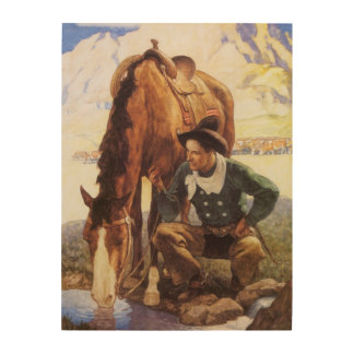Cowboy Watering His Horse by NC Wyeth Vintage Art Wood Canvases
