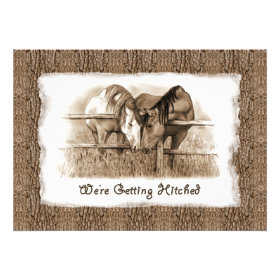 Cowboy Wedding Invitation: Getting Hitched: Horses