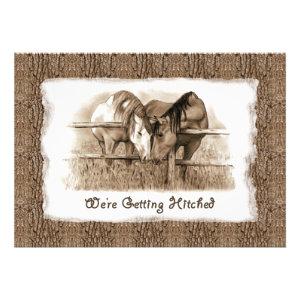 Cowboy Wedding Invitation: Getting Hitched: Horses