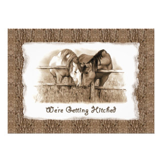 Cowboy Wedding Invitation Getting Hitched Horses