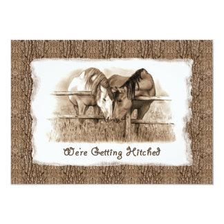 "Cowboy Wedding Invitation: Getting Hitched: Horses 5"" X 7"" Invitation Card"