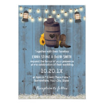Cowboy Wedding Rustic Sunflower Lantern Dusty Blue Invitation
