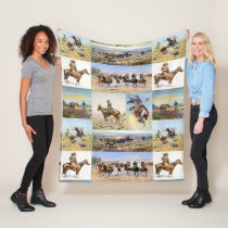 Cowboy Western Art Popular Fleece Blanket