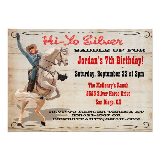Personalized Cowboy and indian birthday Invitations