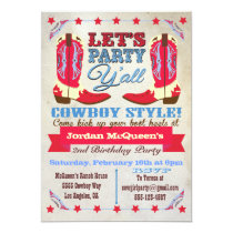 Cowboy Western Birthday Party Invitations