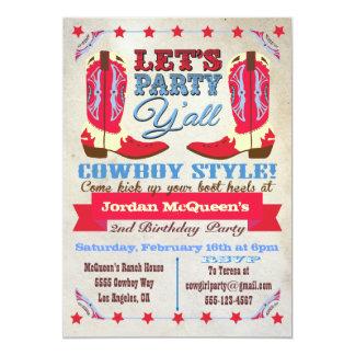 Cowboy Western Birthday Party Invitations