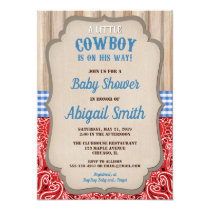 Cowboy western blue red bandana rustic baby shower invitation