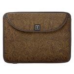 Cowboy Western Brown Tooled Leather Look MacBook Pro Sleeves