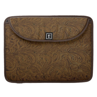 Cowboy Western Brown Tooled Leather Look Sleeve For MacBook Pro