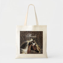 cowboy western country horse wedding bride tote bag