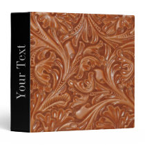 cowboy western country pattern tooled leather 3 ring binder