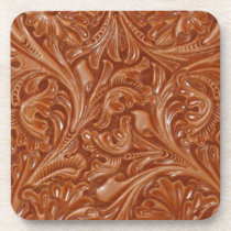 cowboy western country pattern tooled leather beverage coaster