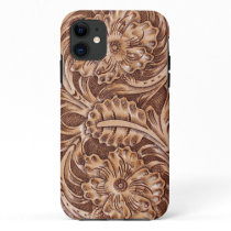 cowboy western country pattern tooled leather iPhone 11 case
