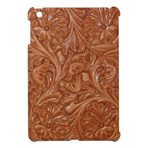 cowboy western country pattern tooled leather iPad mini cover