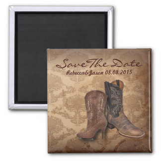 cowboy western country wedding save the date 2 inch square magnet