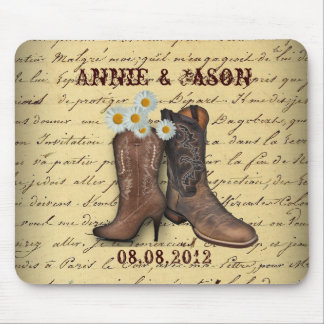 Cowboy Western Country Wedding savethedate favor Mouse Pad