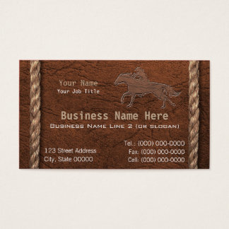 Cowboy / Western Faux Tooled Leather & Rope Business Card
