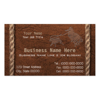 Cowboy / Western Faux Tooled Leather & Rope Double-Sided Standard Business Cards (Pack Of 100)