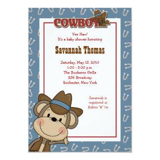 Cowboy Western Monkey 5x7 Baby Shower Invitation